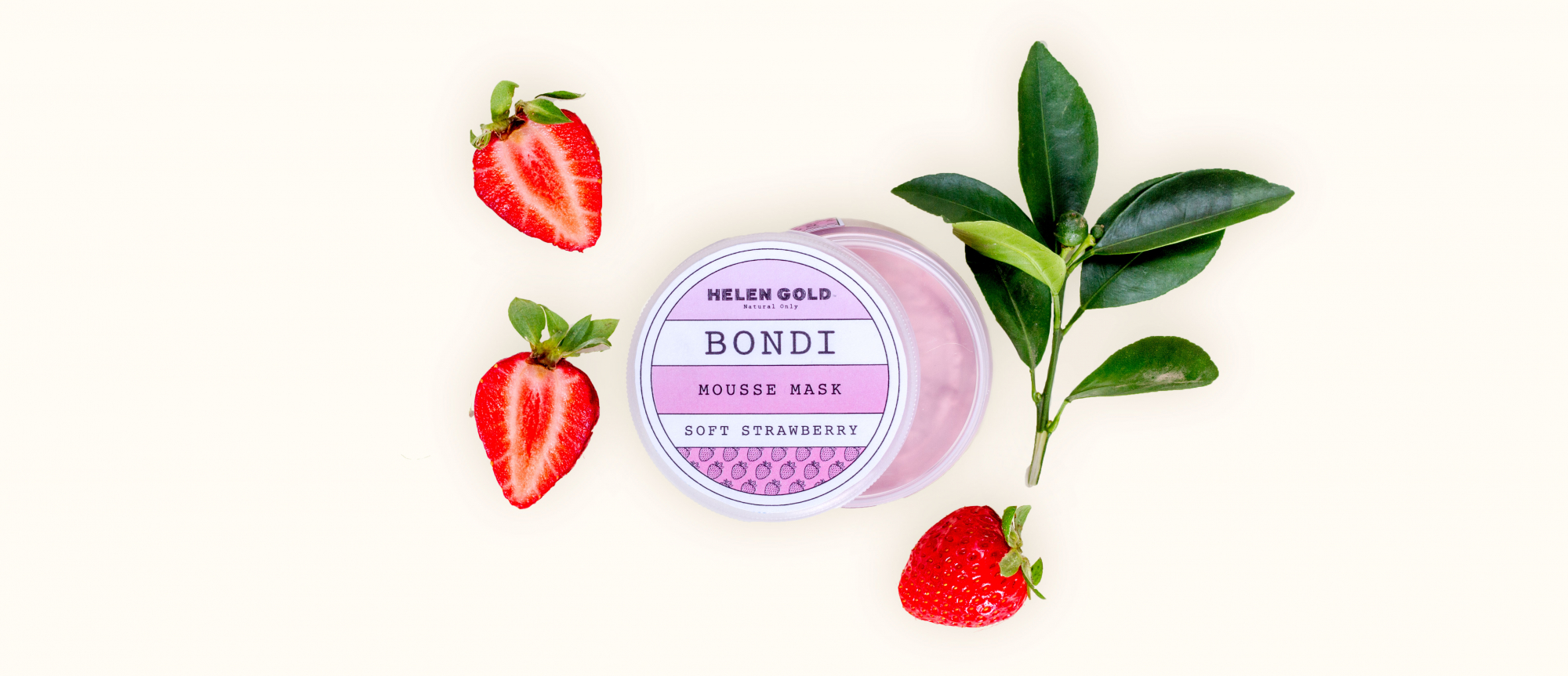Средства для лица Soft Strawberry Mousse Mask серии Bondi от Helen Gold, аромат - мята, 150 г